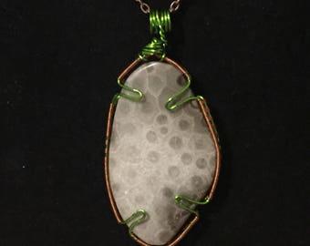 Abstract Petoskey Stone Pendant