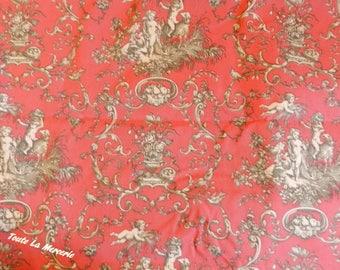 Beautiful toile de Jouy fabric cut red bottoms