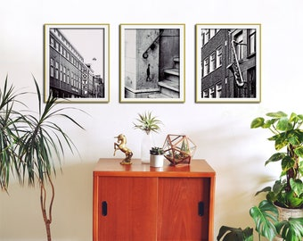 Set of 3 Black and White Wall Art, City Print Set, City Wall Art, Set of 3 Prints, Wall Decor Print Set, Black and White Art, Print Set of 3
