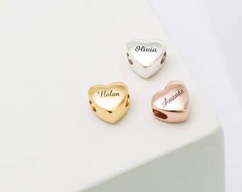 Silver Heart Charm • Personalized Name Beads • Custom Name Jewelry • Big Hole Heart Charm Bracelet • Customized European Beads • CM18F49