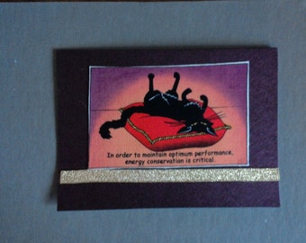 Energy Conservation Hand Made Cat Card