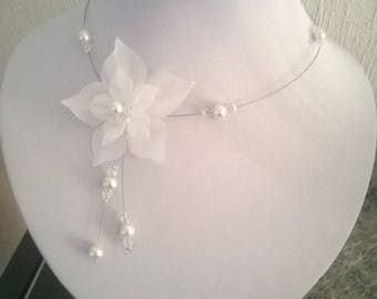 necklace model different evening wedding bridal silk flower beads