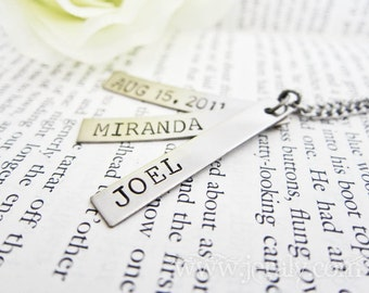 Hand Stamped Mother Necklace with Three Nickel Silver Date or Name Tags - Birthday or Anniversary