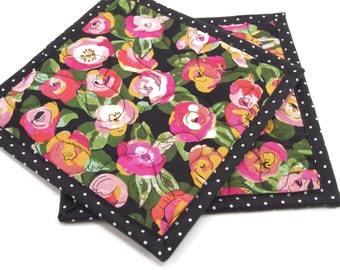 Floral Hot Pads, Quilted Pot Holders - Pink and Orange Flowers with Green Leaves on Black Kitchen Potholders Set of Two 8 Inch Square