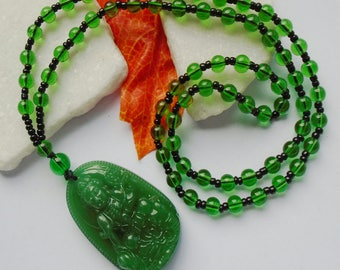 Aventurine, Buddha, Boho, hippie amulet, medallion, pendant with necklace, Pearl green