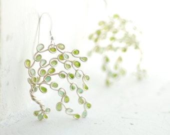 9th Anniversary Gift, Willow Tree Earrings, Sterling Silver Nature Jewelry