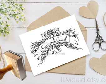 0328 NEW Design! JLMould Under the Sea Mermaid True Love Wedding Custom Personalized Rubber Stamp Wedding Invitations Save the Date RSVP