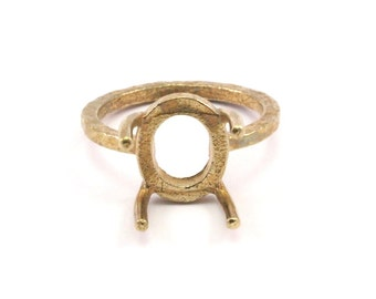 Claw Ring Blank, 5 Raw Brass Ring Settings with 4 Claws, Ring Blanks N105