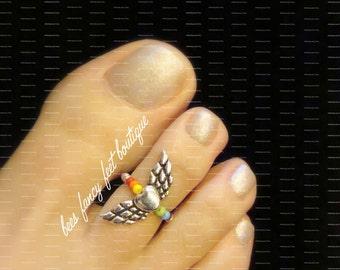 Toe Ring, Rainbow Bead Toe Ring, Heart Charm Ring, Heart with Wings Ring, Stretch Bead Toe Ring