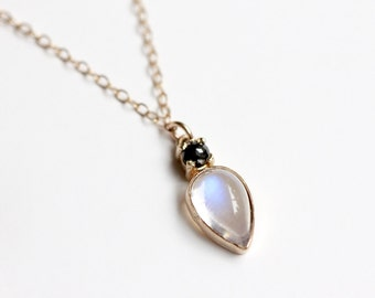 Rainbow Moonstone and Black Diamond Necklace - Solid 14k Gold