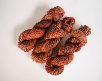 Worsted weight yarn, copper yarn, tonal yarn, knitting yarn, worsted yarn, superwash merino, hand dyed yarn, kettle dyed, copper penny