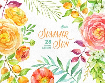 Summer Sun: 28 Floral Elements, popies, ranunculus, peonies, floral wedding invitation, greeting card, diy clip art, flowers, fruits, sun