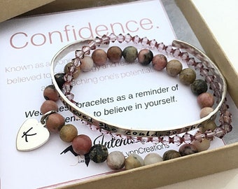 Confidence Bracelet - She Believed She Could Bracelet  - Graduation Gift for her - Initial Bracelet  - Inspirational Jewelry - Personalized