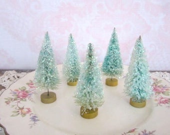 Set Of Five Mint Faded Green Sugared Bottle Brush Trees Glitter Snowy Faded Bottle Brush Trees
