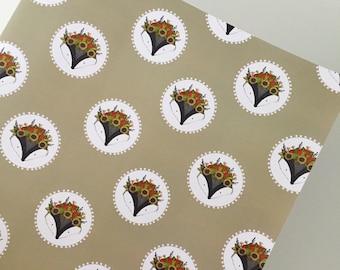 Floral flower Badger wrapping paper sheet, Badger 50cm x 70cm