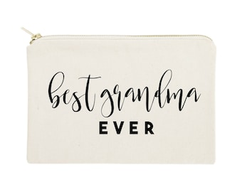 Best Grandma Ever Cotton Canvas Cosmetic Bag, Travel Makeup Pouch, Bridesmaid Gift, Wedding, Cute Gift for Her, Christmas Gift, Mother's Day