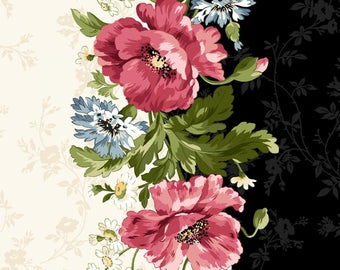 Fabric Poppies Pinks Stripe by Maywood Studio