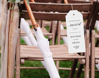 Reserved Wedding Ceremony Seating Tag, Reserved Chair Tags, Wedding Ceremony Reserved Seat Sign, Wedding Chair Tag Template - KPC04_406