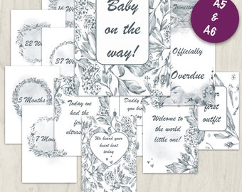Printable Pregnancy Milestone cards (70) - Pregnant - Printable Cards - Photo Cards - Babyshower gift - Printable - Digital Download - PDF