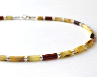 100% Natural Amber Men Necklace, Men's Amber Jewelry, Untreated Amber Men Jewelry, Natural Gift Ideas for Men