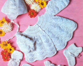 Vintage Knitting Pattern PDF Baby  Matinee Jacket Cardigan Bonnet Mittens and Booties Chest 18 to 19 inches