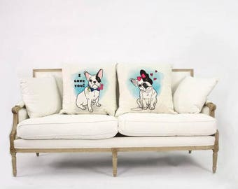 French Bulldog love  Cushion Cover