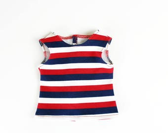 Fits like American Girl Doll Clothes - Red, White, and Blue Striped Tank Top | 18 Inch Doll Clothes