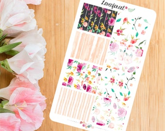 Floral half box stickers|  planner stickerswatercolor planner stickers| HB003