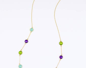 Long colorful necklace, Station necklace, Gemstone necklace, Peridot necklace, layered necklace, Purple amethyst, aqua chalcedony necklace