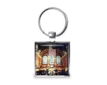 New York Grand Central Station - Glass Photo Keychain - Handmade