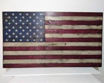 Pallet Wood Flag, Large Wood Flag, Rustic American Flag, Wooden American  Flag,