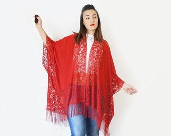 Lace Kimono Boho Kimono Red Kimono Fringe Kimono Fringe Pareo Girlfriend Gift For Mom GiftCustom/ KIMONO