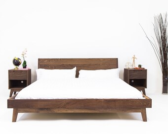 Unique King Bed Frame. Modern Bed, Walnut Midcentury Bed Frame, King Unique  Frame