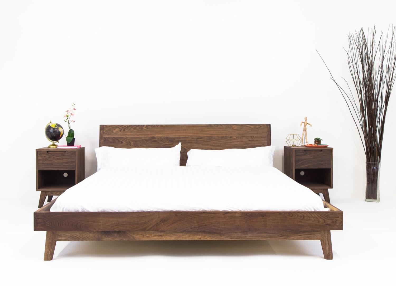 Modern Bed Bed Walnut Bed Midcentury Modern Bed Bed Frame