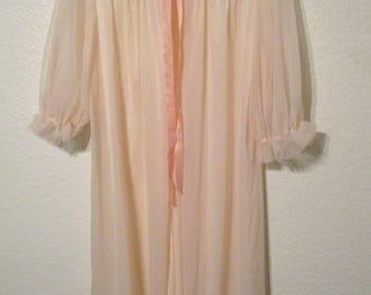Vintage Chiffon Peignoir Vanity Fair Peignoir Sheer Peach Chiffon Robe Size 34
