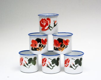 tasse mug thé tasse émaillée soviétique tasse camping randonnée tasse camping tasses mugs petite coupelle en métal mug floral tasse mug set de six tasse tasse de l'émail