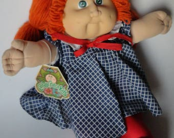 1 Vintage Cabbage Patch Kid Doll With Red White & Blue Outfit AND SHOES - Red Orange Hair, Green Eyes, Retro 80s Kids Toy, CPK Girl Doll