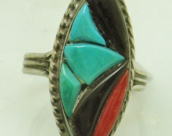 Vintage R and GT Zuni Native American Ring Richard and Geneva Terraza Size 5.5 Turquoise Coral Onyx Cobblestone