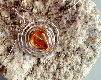 Silver Chain with Amber Pendant Necklace