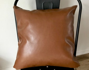 Faux Leather Pillow Cover with Black and Gold Zipper - Boho - Home Decor - Farmhouse