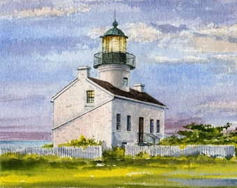 Old Point Loma Lighthouse, San Diego, CA. New England Colonial over the Pacific. Matted art prints, 5x7 notecards of original watercolor.
