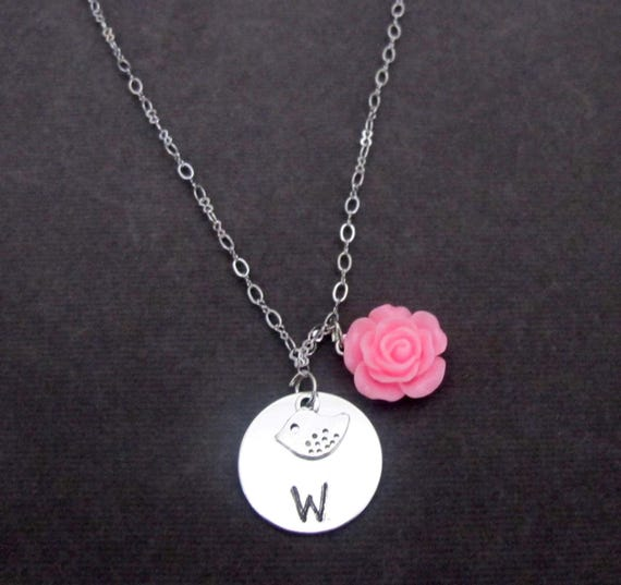 Flower Girl Necklace,Will You be My Flower Girl Gift,Initial Bird Charm, Adorable Children Jewelry,Flower girl jewelry, Free Shipping In USA