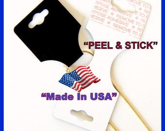 Jewelry Display Card Hang Tags 50 or 100 pcs Black or White Fold Over Sm Self Adhesive Hangtag USA Made SM