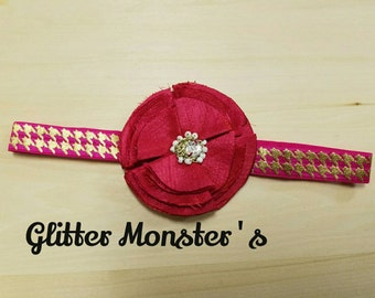 Pink Flower Infant Headband, Toddler Headband, Fuschia Headband, Baby Headband, Pink and Gold Chevron Headband, Summer Flower Headband