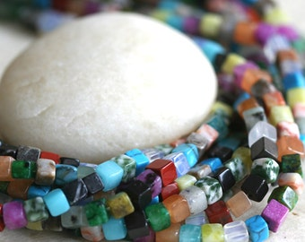 4mm Stone cube beads - Multi Colored Gemstone Cube Beads - Jewelry Making Supply
