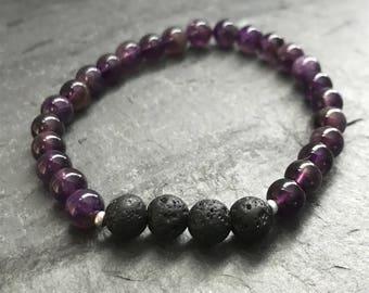 Essential Oil Diffuser Bracelet | Lava Bead Bracelet | Amethyst