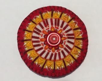 Felt Circle Brooch in Red