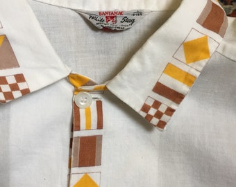 Wonderfully detail-patterned 1960s White Stag shirt in beachy style!