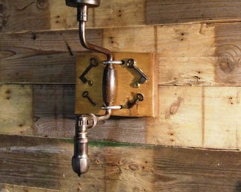 Coat Hook made from a mounted carpenter's brace