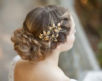 Gold leaf hair pins Gold bridal hair pins Leaf headpiece Gold floral hair pins Gold hair accessory Wedding leaf hair pins Bridal headpiece